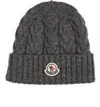 Moncler Men's Cable Knit Virgin Wool Beanie Grey