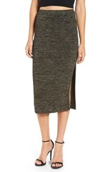 Leith Women's High Slit Marled Midi Skirt Olive Sarma Hthr