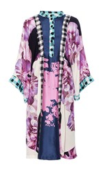 Warm Flower Dance Multi Print Dress Purple White Black