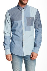 Moods Of Norway Alex Vik Long Sleeve Patch Denim Shirt Blue