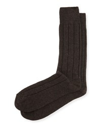 Neiman Marcus Cashmere Blend Ribbed Socks Brown