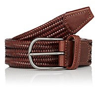 Barneys New York Men's Braided Leather Belt Tan