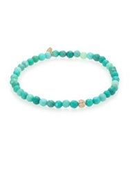 Sydney Evan Diamond Green Opal And 14K Yellow Gold Ball Beaded Stretch Bracelet Gold Teal