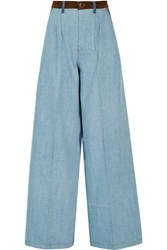 Sonia Rykiel Suede Trimmed Mid Rise Wide Leg Jeans Blue