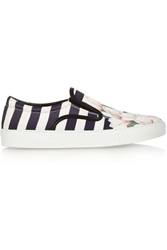 Mother Of Pearl Achilles Striped Twill Slip On Sneakers Blue