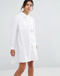 Native Youth Frayed Hem Denim Shirt Dress White Denim