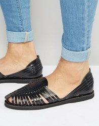 Kg By Kurt Geiger Woven Sandals In Black Leather Black