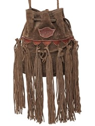 El Vaquero Sachet Fringed Suede Shoulder Bag