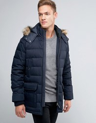 Ted Baker Padded Parka With Faux Fur Hood Navy