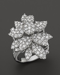 Bloomingdale's Diamond Cluster Flower Statement Ring In 14K White Gold 3.10 Ct. T.W.