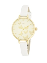Kate Spade Novelty Metro Butterfly Goldtone Stainless Steel And Saffiano Leather Strap Watch Gold White