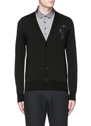 Alexander Mcqueen Dripping Flower Embroidery Cardigan Black