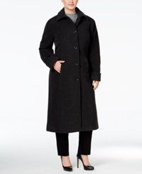 Jones New York Plus Size Maxi Walker Coat Charcoal