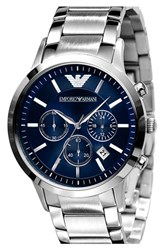 Men's Emporio Armani Stainless Steel Bracelet Watch 43Mm Silver Blue