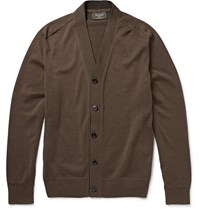 Berluti Suede Trimmed Cotton And Silk Blend Cardigan Dark Brown