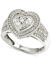 Macy's Diamond Heart Engagement Ring 1 2 Ct. T.W. In 14K White Gold