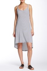 Poof Striped Hi Lo Rib Knit Dress White