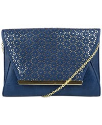 Jessica Mcclintock Perforated Envelope Clutch Navy