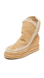 One By Mou Eskimo Inner Wedge Boots Tan