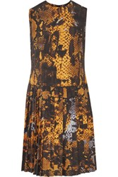 Mcq By Alexander Mcqueen Pleated Printed Voile Dress Orange