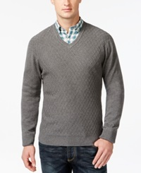 Club Room Diamond Knit Pattern V Neck Sweater Only At Macy's Charcoal Heather