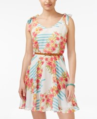 City Triangles City Studios Juniors' Belted Floral Print Fit And Flare Dress Ivory Pink Blue