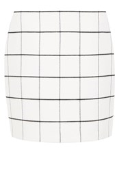 Hallhuber Flannel Grid Check Mini Skirt White