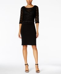 Connected Lace Sheath Dress Black