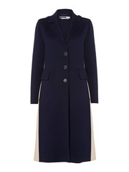 Sportmax Code Double Faced Wool Coat With Side Split Navy