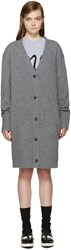 Mcq By Alexander Mcqueen Grey Long Wool Cardigan