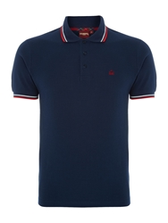 Merc Short Sleeve Tipped Logo Polo Navy
