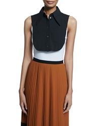 Michael Kors Collection Sleeveless Stretch Cotton Dickie Top Black