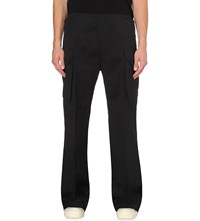 Rick Owens Tailored Cotton Cargo Trousers Black