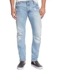 Gstar G Star Raw Arc 3D Slim Fit Ripped And Destroyed Jeans Light Aged Denim