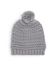 Saks Fifth Avenue Platine Knit Cap Vinyl Grey