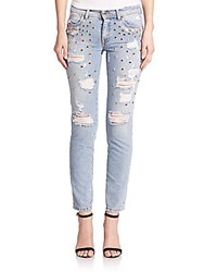 Just Cavalli Rhinestone Detail Distressed Skinny Jeans Blue