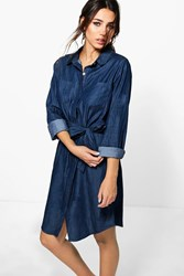 Boohoo Button Through Dark Indigo Denim Shirt Dress Indigo