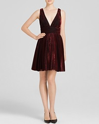 Abs By Allen Schwartz Dress Sleeveless Deep V Neck Pleated Metallic Fit And Flare Red