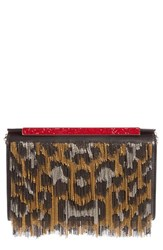 Christian Louboutin Vanite Metallic Leopard Leather Clutch