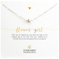 Dogeared Bridal Pearl Flower Girl Reminder Necklace Gold
