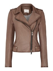 Oui Leather Jacket Light Brown