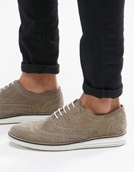 Dune Brogues In Grey Suede With Contrast Sole Grey