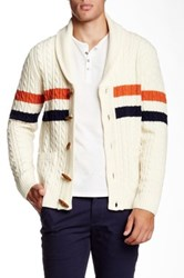 Barque Contrast Stripe Cable Knit Cardigan Beige