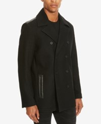 Kenneth Cole Reaction Men's Double Breasted Pea Coat Black Combo