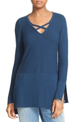 Free People Women's Crisscross Sweater Dark Blue