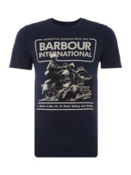 Barbour Short Sleeve Hill Climb Motorcycle Crew Navy