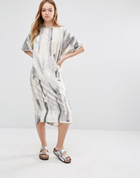 Native Youth Midi Tunic Smock Dress Oatmeal Multi