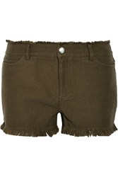 Alexander Wang Frayed Woven Cotton Shorts Green