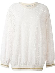 Stella Mccartney Floral Lace Sweatshirt Pink And Purple