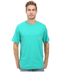 Vineyard Vines Short Sleeve Vintage Whale Pocket Tee Cove Green Men's T Shirt Blue
